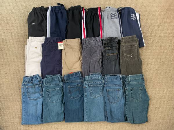 Photo 18 Pairs of Boys Pants and Jeans Size 10 - $100 (Lapeer)