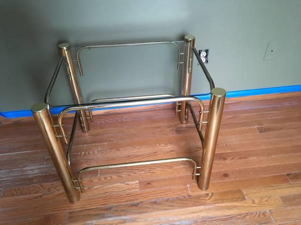 Photo Brass  glass end table - $35 (Fenton)