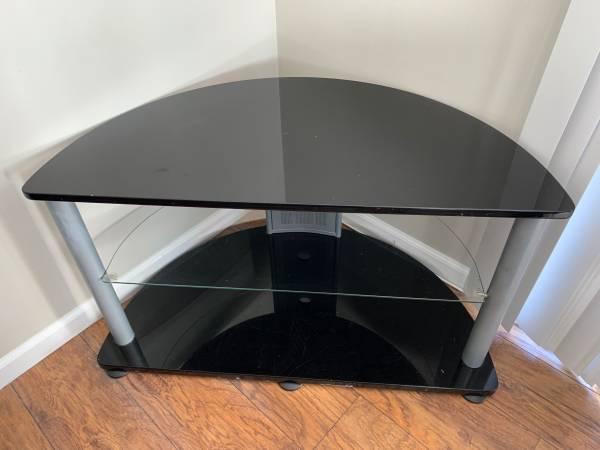 Photo Glass TV Stand - $40 (Fenton)