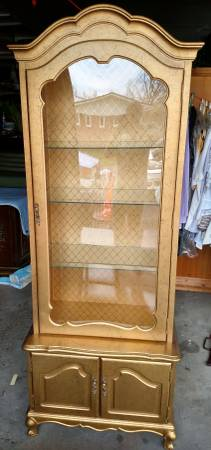 Photo Hutch gold with black antique look with glass shelves - $249 (Swartz Creek)