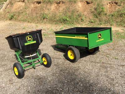 Photo John Deere Garden tractor wagon and fertilizer spreader - $500 (Fenton)