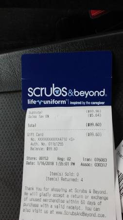 Photo Scrubsbeyond gift card - $75 (Owosso)