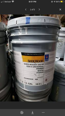 Photo 5 gal of Sherwin-Williams Sher-Wood 5421W Gen ll Universal white prime - $65 (Mooresville)