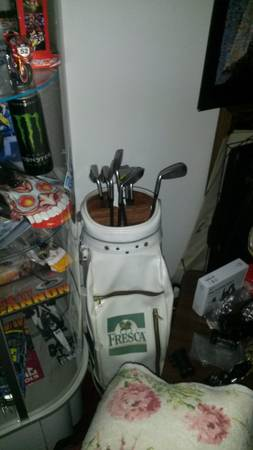Photo HOT-Z PROGROUP, INC. CADDY PRO WHITE  GREEN TRIMMED LEATHER GOLF BAG - $100 (FLORENCE, S.C. 29501)