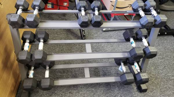 Photo Mark X 3 Tier Dumbbell Rack Home Gym with Dumbbells - $800 (Florence, SC)