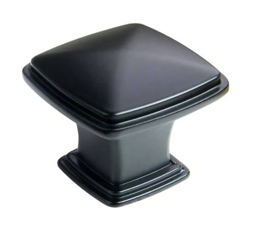 Photo 1-14 in. Flat Black Traditional Square Cabinet Knob (25-Pack) - $20 (la salle)