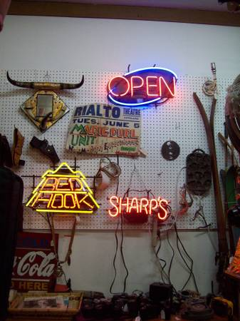 Photo Antique Tools-Neon Lights-Dressers-China Cabinet (Rocky Mtn Antiques, Loveland, Co)