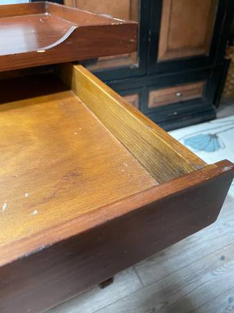 Photo Pier One dark wood nightstand  small table - $40 (Fort Collins)