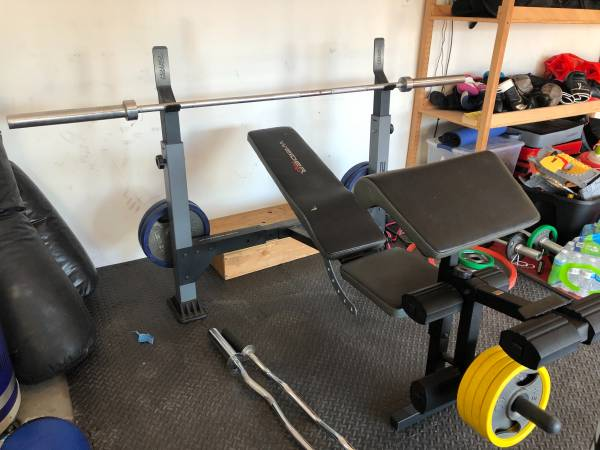 Photo Weider Pro 240 bench with adjustable power catch rack - $150 (Greeley)
