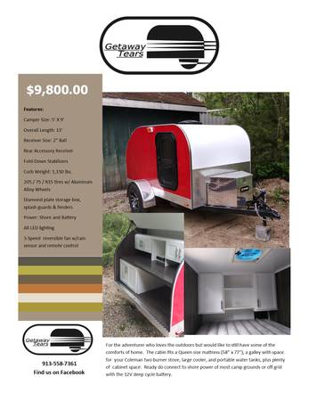 Photo Teardrop trailer - New - $8,800 (Shawnee, KS)