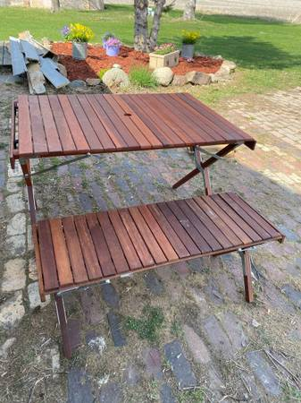 Photo Wood Roll Up Top Cing Picnic Table and Bench - $50 (Mason City, Iowa)