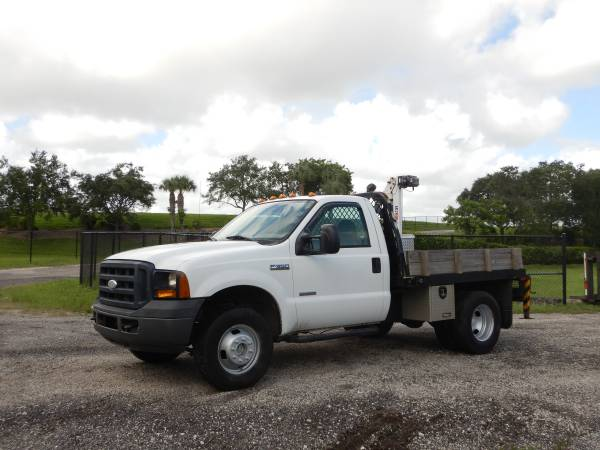 Photo 2006 Ford F-350 4X4 Flatbed Hoist Diesel 1 Owner FL Truck Super Duty F - $13,995