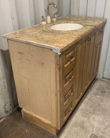 Photo 48.5quot Wide Brown Bathroom Vanity Granite Top 5 Drawers 3 Doors - Used - $449 (Bonita Springs)