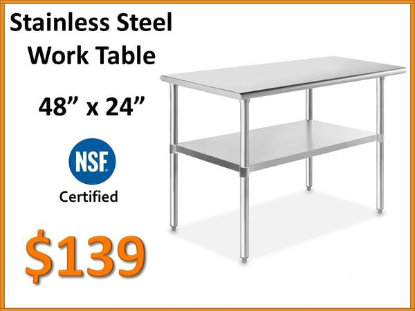 Photo 48quot x 24 Stainless Steel Work Table - NSF Certified Commercial Grade - $139 (Tamarac)