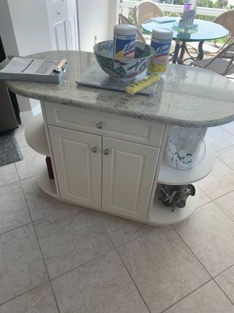 Photo 52quot Wide White Side Board Credenza With Granite Top 1 Drawer - Used - $399 (Bonita Springs)