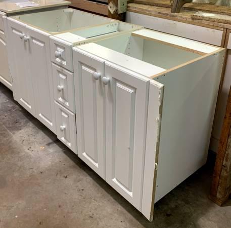 Photo 54.5quot Wide White Bathroom Vanity No Top W 3 Drawers 4 Doors - Used - $229 (Bonita Springs)