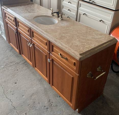 Photo 72.5quot Wide Brown Bathroom Vanity Granite Top 2 Drawers 4 Doors - Used - $399 (Bonita Springs)