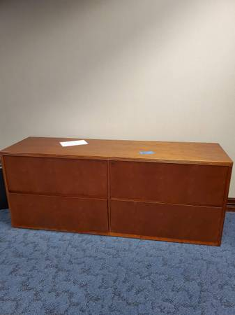 Photo 72quot Wide Brown Wooden Credenza Cabinet With 4 Drawers - Used - IGC - $449 (Bonita Springs)