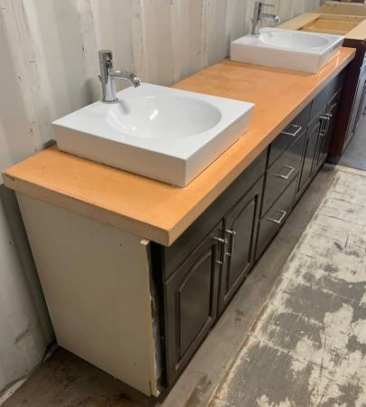 Photo 84quot Wide Brown Bathroom Vanity Granite Top 3 Drawers 4 Doors - Used - $599 (Bonita Springs)