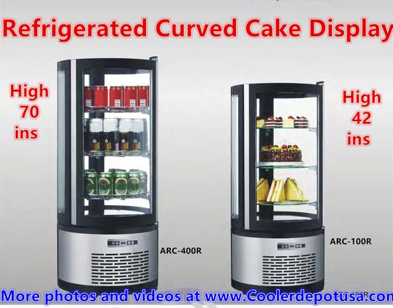 Photo Countertop Refrigerated Curved Glass Cake Display Case Glass COOLER - $1,398 (100 new)