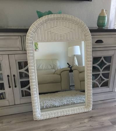 Photo New White Wicker Frame Mirror - $50 (I-75 (Exit 111)  Immokalee)