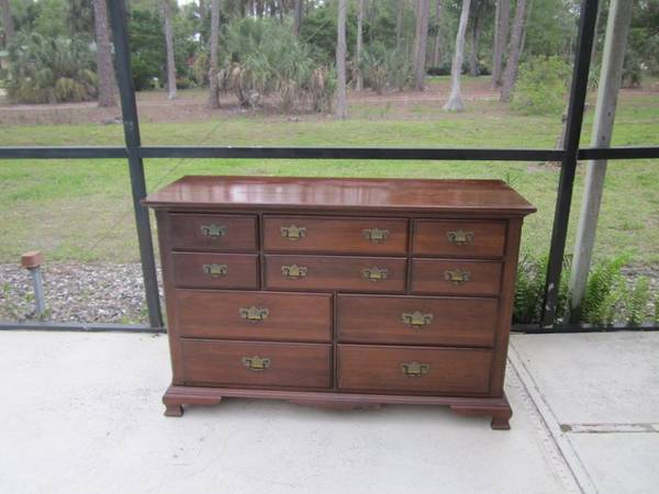 Photo Vintage French Double Solid Maple Dresser Chest of Drawer Ten Drawers - $599 (Naples)