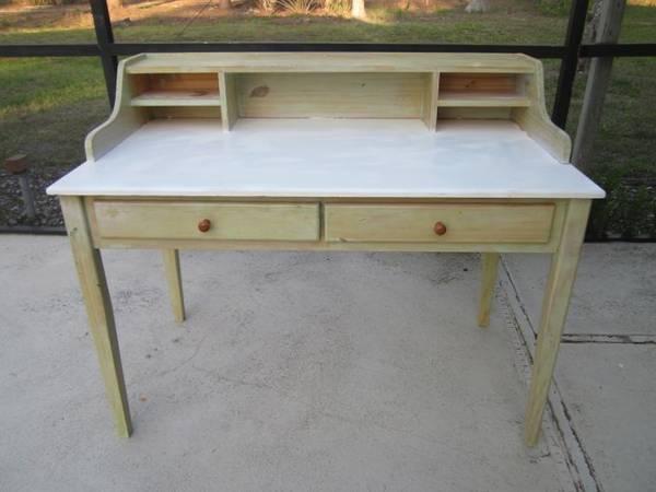 Photo Vintage Wood Secretary Desk Shabby Chic Two Drawer - $369 (Naples)