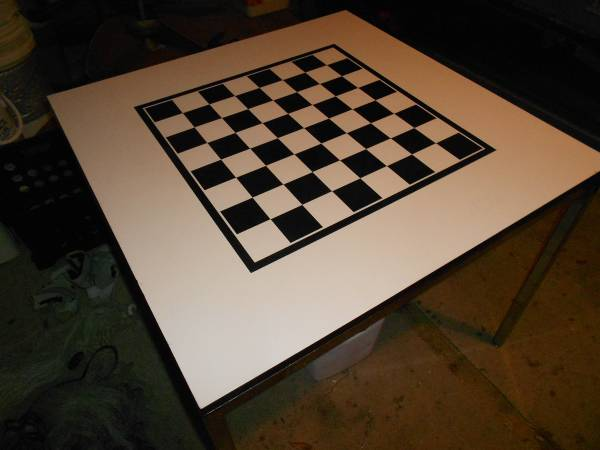 Photo Checker Board Table with chrome metal sides - $69 (Naples)