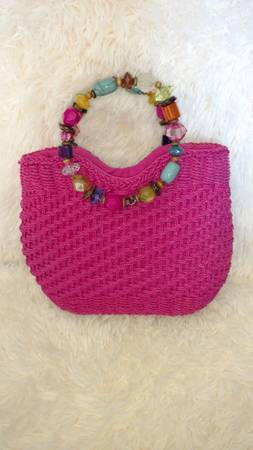Photo Cappelli Straworld Woven Purse Handbag Hot Pink Straw Chunky Bead Round Handles - $10 (Fort Wayne)