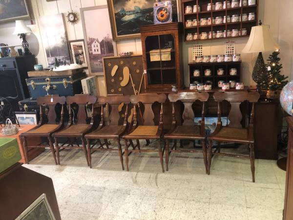 Photo 6 solid oak cane seat dining chairs - $165 (Frederick)