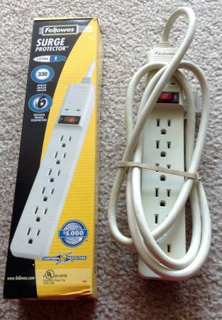Photo Extension Cords Surge Protectors 6, 7, 12, 15 ft Fellowes GE - $9 (Gaithersburg  Shady Grove)