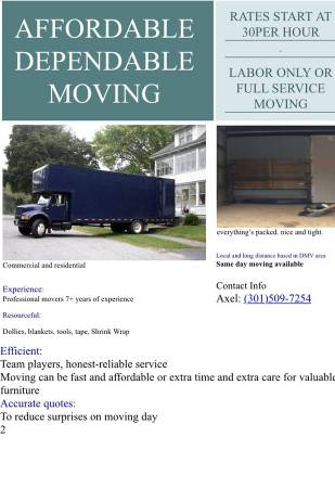 Photo MOVERS MOVING MOVE IN SPECIAL SAMEDAY AND WEEKENDS - $60 (frederick, hagertown, charlestown, va, dc, md, wv)