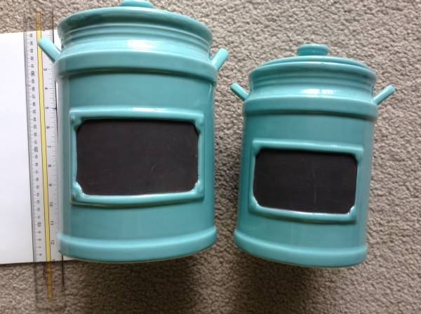 Photo Nice 2 Cookie Jars Aqua Blue Color Canister with chalkboard - $59 (Gaithersburg)