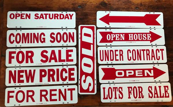 Photo REAL ESTATE RIDER SIGNS Lot of 26 - Red on White Assorted Steel 6quotx24quot - $2 (Mount Airy)