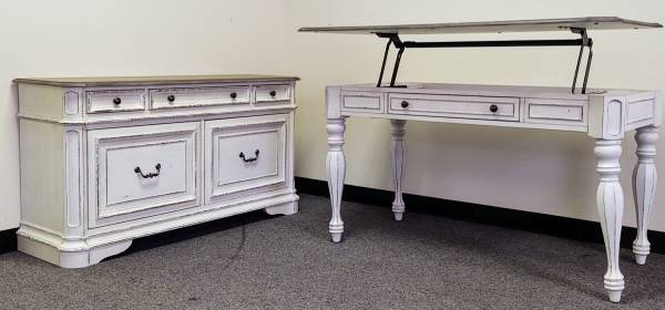 Photo Fine()Off white desk lift top and matching credenza - $1,420