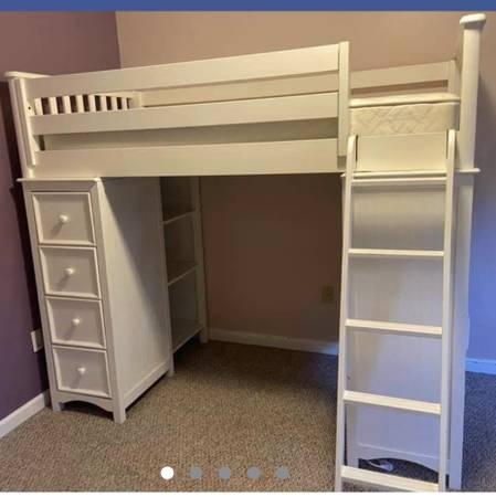 Photo Loft Bed Twin with Desk, Dresser  Shelves  White - $720 (Spotsylvania)