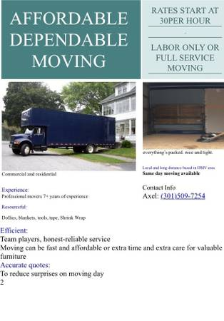 Photo Mover MoveS Moving Movers Move  same day special  - $80 (Accocceek DC MD VA WV PA)