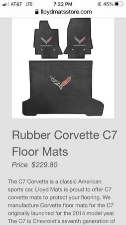 Photo C7 Corvette Floormats and Cargo Liner - $175 (Fresno)
