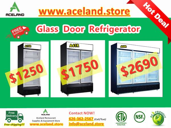 Photo NSF 123-door Commercial Glass Refrigerators  Freezer Restaurant Equ - $1,250 (Free Shipping 100 New)