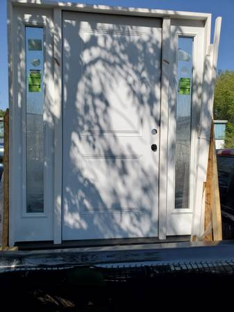 Photo Primed White Steel Prehung Front Door with Double 14 in. Rain Glass Si - $1,500 (Selma)