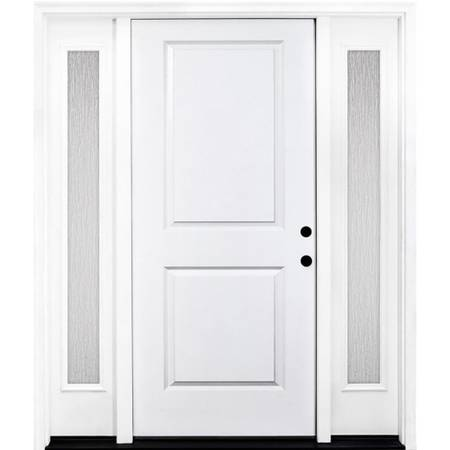 Photo Primed White Steel Prehung Front Door with Double 14 in. Rain Glass Si - $900 (Selma)