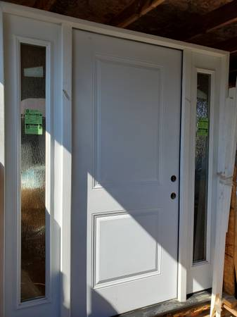 Photo Primed White Steel Prehung Front Door with Double 14 in. Rain Glass Si - $800 (Selma)