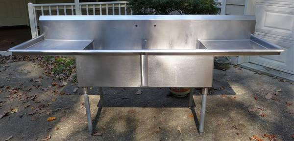 Photo 14 Ga Stainless Steel Commercial 2 Compartment Sink w 2 drain boards - $500 (Ellijay)