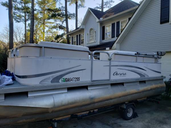 Photo 18 Foot Pontoon For Sale. Evinrude Outboard - $8,500 (Woodstock)