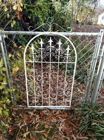 Photo Salvaged Antique White Decorative Wrought Iron Fence Piece - $60 (Anniston)