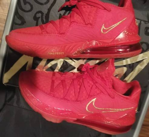 Photo Nike X Titan LeBron XVII 17 Low PH Red Metallic Gold Sz 8.5 - $130 (Gainesville)