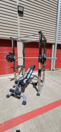 Photo TuffStuff Power Cage w Bench  Weights CAN DELIVER. $FIRM - $980 (Hwy. 6  Clay Rd.)