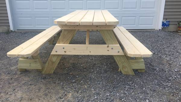 Photo 639 Custom built picnic table with detached benches - $250 (Lake George, NY)