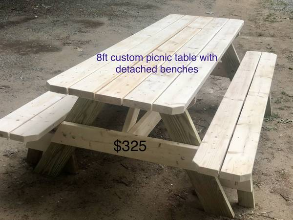 Photo 839 Custom built picnic table with detached benches - $325 (Lake George)