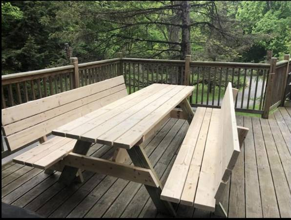 Photo 839 Custom built picnic table with detached high back benches - $500 (Lake George)